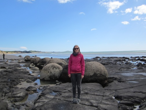 Me at Moeraki Beach