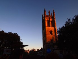 Magdalen College tower glows